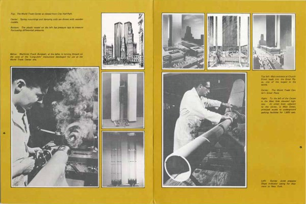 Page spread showing the construction of the wind tunnel model of the World Trade Center