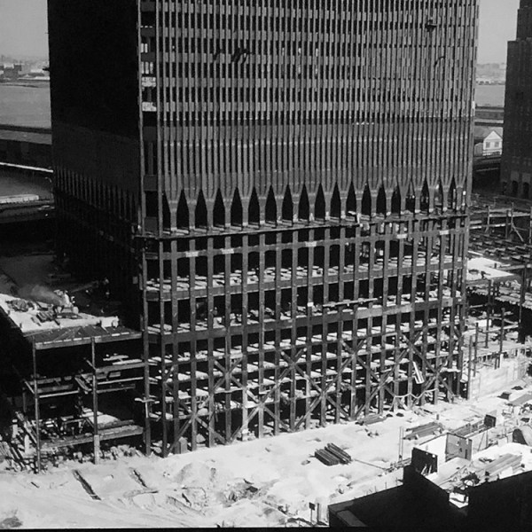 Photograph of the lower section of the North Tower under construction