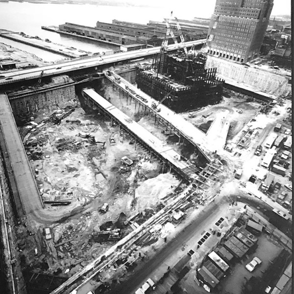 Aerial photograph of the World Trade Center bathtub and a ramp leading to West Street