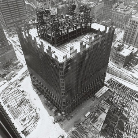 Aerial view of the World Trade Center under construction