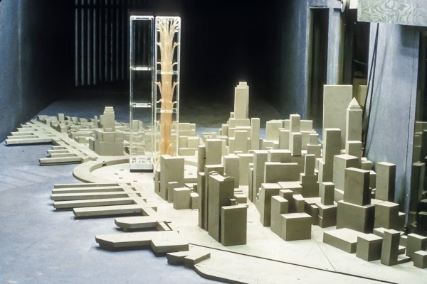 Wind tunnel model of Lower Manhattan and the World Trade Center