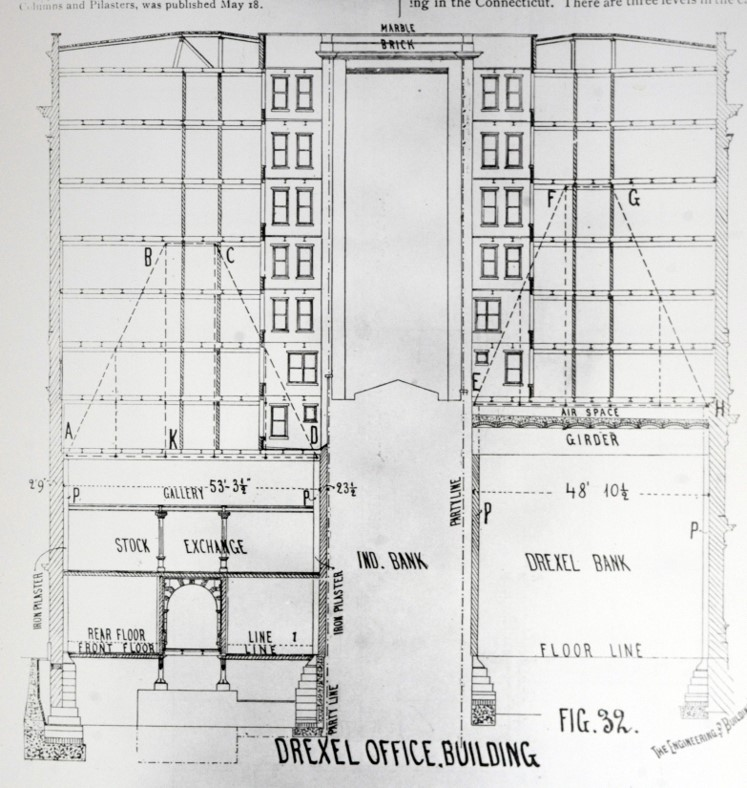 Drawing of the Drexel Building, Philadelphia, from Engineering News Record, National Park Service, Independence National Park, Drexel Building files.