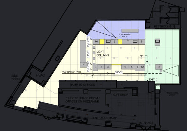 """Floor plan of the exhibition showing the location of different spaces and the narrative path throughout the gallery space. Key sections include """"Columns of Light"""""""