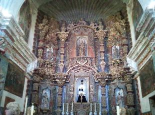 The main altar features St. Francis Xavier, one of the first Jesuits