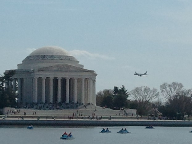 DCA is just behind the monument over the river, and there is a flight overhead about every 6-8 minutes.