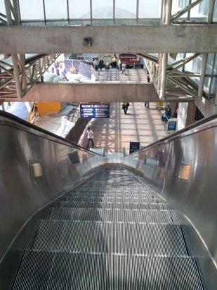Escalators from parking lot