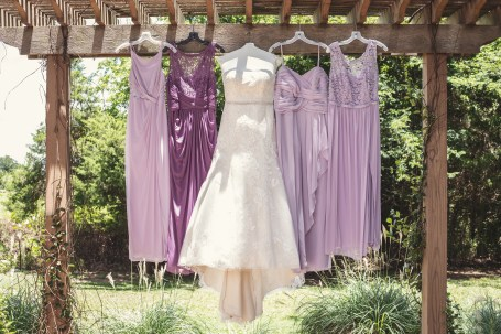The Bride's dress along with the bridesmaid's gowns at the Bernhardt Winery in Plantersville.