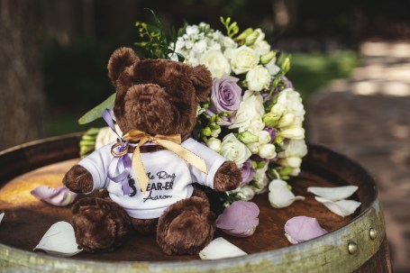 The ring bear with bouquet at the Bernhardt Winery in Plantersville, Texas.