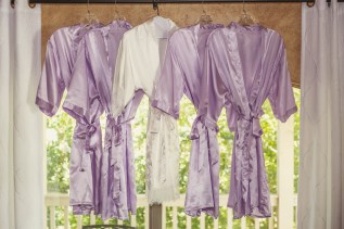 Bride and Bridesmaids Purple Robes at the Bernhardt Winrey in Plantersville, Texas.