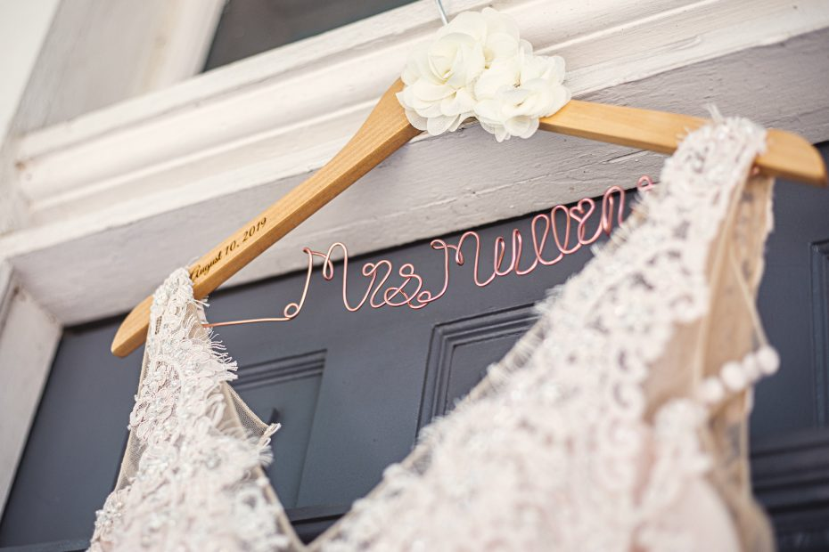 Bride name hanger for wedding dress | Chapel at Chestnut Square in McKinney | Skys the Limit Production