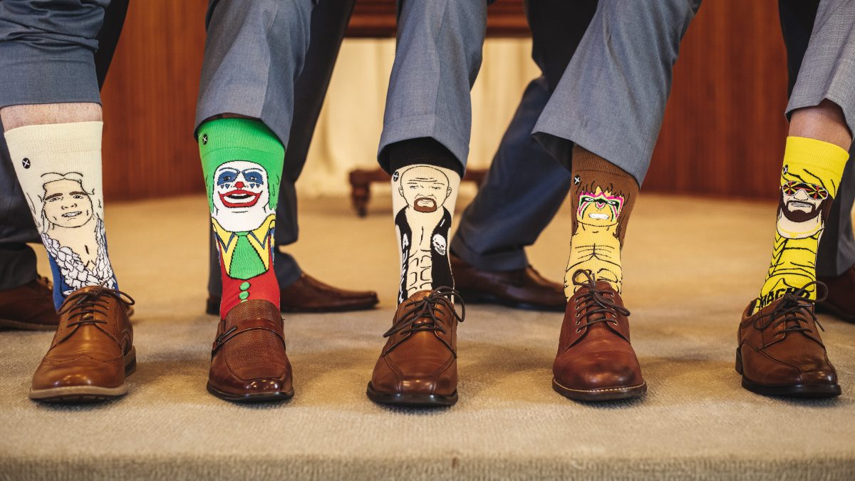 Groomsmen with crazy socks | chapel at chestnut square in McKinney, TX | Skys the Limit Production
