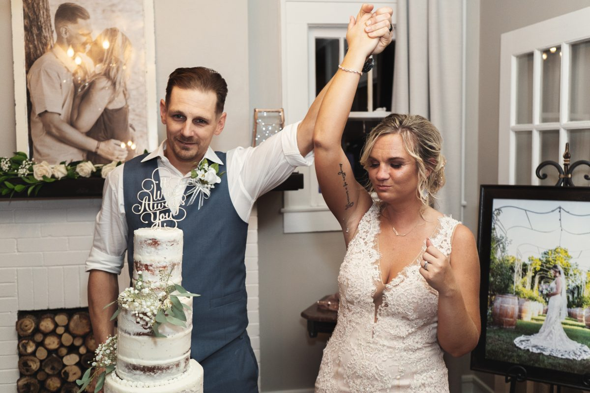 Bride and groom after cutting the cake | Wedding Reception | chapel at chestnut square in McKinney, TX | Skys the Limit Production