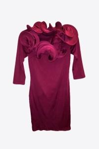 Burgundy Dress Stretchy with Ruffles | SkyStruk Fashion ...