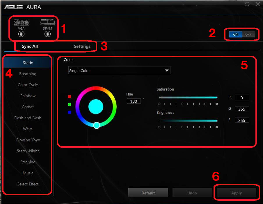Asus Aura Sync Software