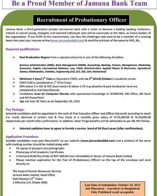 Job circular of jamuna bank limited