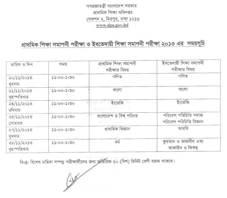 Terminal exam routine 2013 has been published