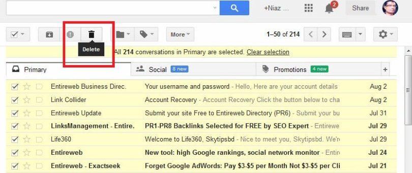 delete all Gmail inbox