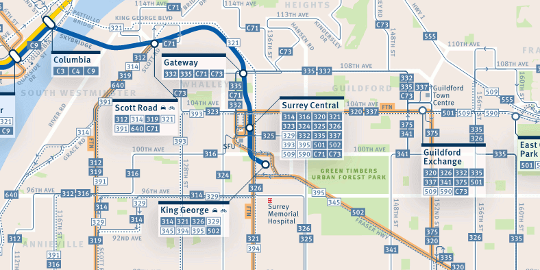 Surrey transit map  SkyTrain for Surrey not LRT