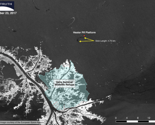 Sentinel 1 radar satellite image showing small slick in the Gulf of Mexico on December 23, 2017, indicating an apparent leak or spill from an oil platform. Image courtesy of the European Space Agency (ESA).