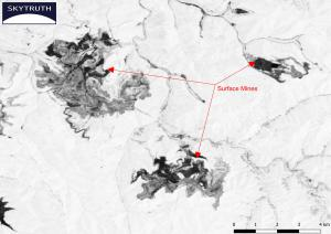 An NDVI image of surface mines in central Appalachia.