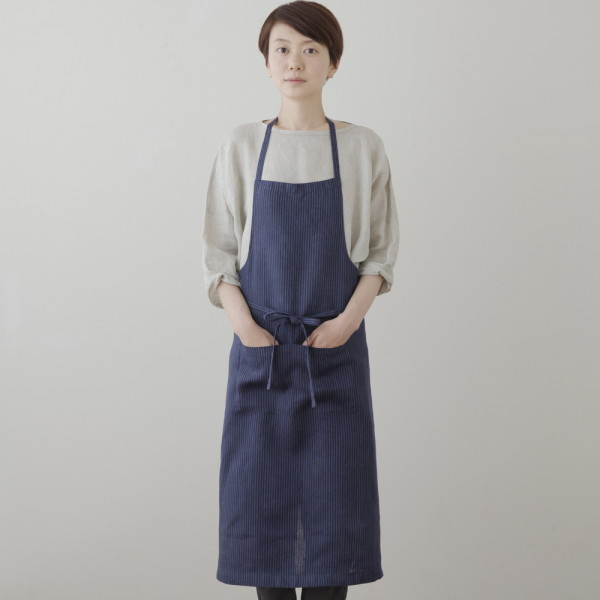 full apron navy blue