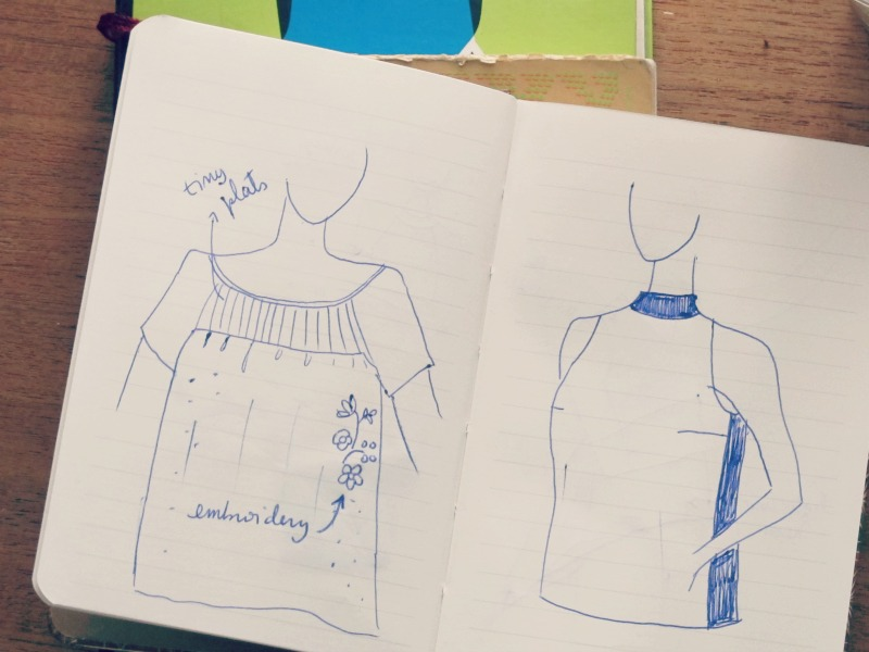 sketchbook two more tops, pleats and embroidery