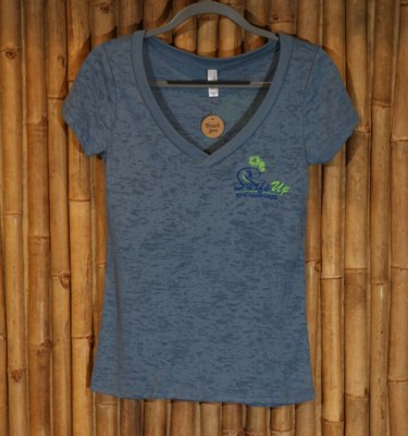 Slate V-neck Surf's Up burnout tee