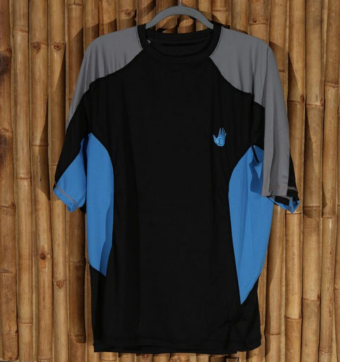 Body Glove blue, black, and grey men's rash guard