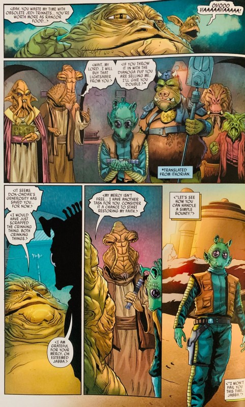 Greedo faces the wrath of Jabba the Hutt.