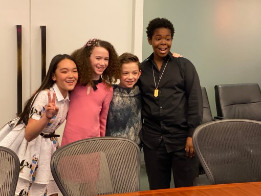 From left to right: Ai-Can Carrier, Chloe Coleman, Winslow Fegley, Kei