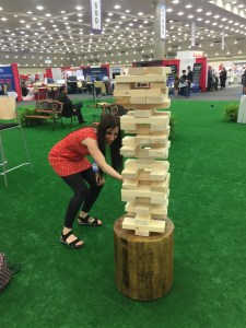 Ruth on her way to an epic Jenga victory