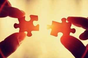 Two Puzzle PIeces with bright background