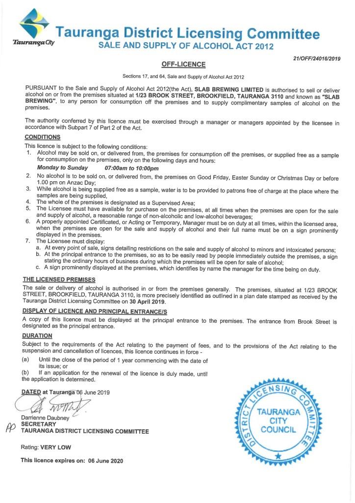 Slab Tauranga Off Licence Beer Sales