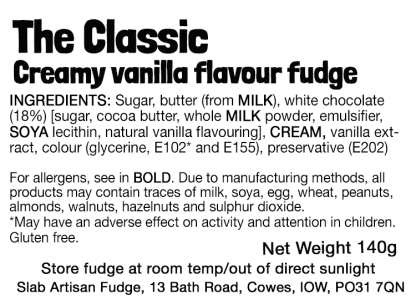 The Classic Slab Flavour Label - Ingredients & Allergens