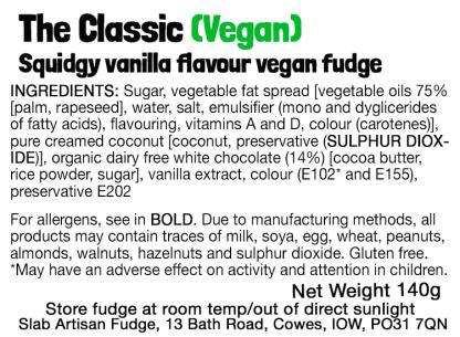 The Classic Slab (Vegan) Flavour Label - Ingredients & Allergens
