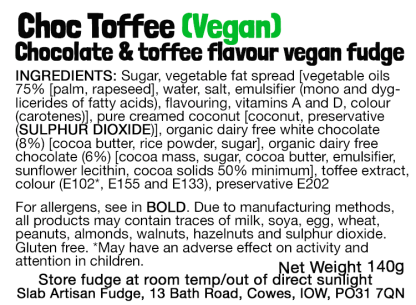 Choc Toffee Slab (Vegan) Flavour Label - Ingredients & Allergens