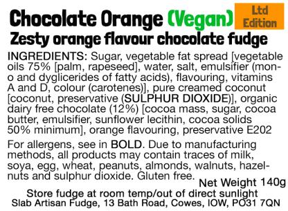 Vegan Chocolate Orange Slab Flavour Label - Ingredients & Allergens