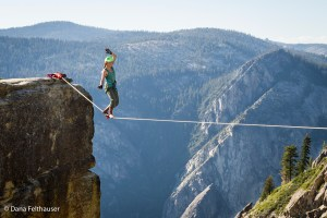 Taft Point highline, Yosemite. Taft Point, Rostrum, Lost Arrow Spire are still open for highlining.