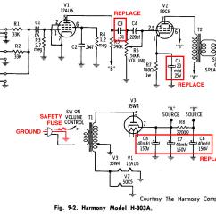 Headphone Wiring Diagram Bosch O2 Sensor Rebuilding A Vintage Tube Amplifier Slackpropagation Harmony H303a Schematic