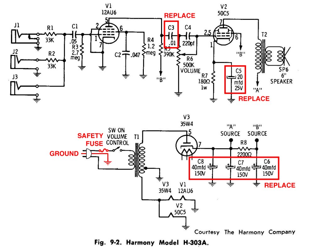 Guitar Amp Schematic Diagram Schematics General Gadgets Carvin V3 Medium Resolution Of Harmony H303a Amplifier
