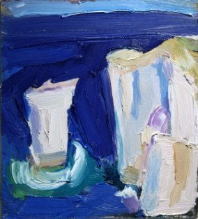 The Pinnacles, Swanage J Bailey oil on board 25.5 x 28cm SOLD