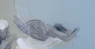 Same Place, Different Day by Angela Charles acrylic and coloured pencil on wooden panel in tray frame 15 x 30cm