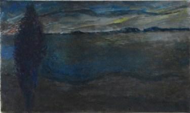 John Hubbard Looking North, Norfolk oil on paper 33 x 57cm