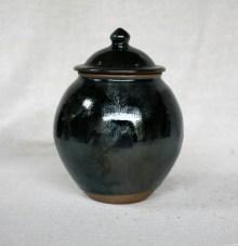 Svend Bayer 24. Lidded Jar, kaki glaze with wood ash, 26 x 20 cm £215