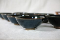Svend Bayer 35 (sold), 51, 52 (sold), 53 (sold), 54, 55, 56(sold), 57 (sold). Set of 4 exceptional Black Blue kaki glazed with wood ash Bowls still unsold 7 x 15.5 cm £110 each
