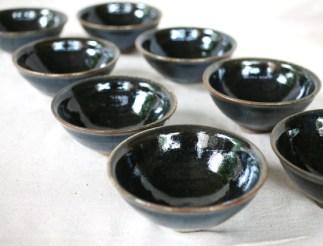 Svend Bayer 35 (sold), 51, 52 (sold), 53 (sold), 54, 55, 56 (sold), 57 (sold). Set of 4 exceptional Black Blue kaki glazed with wood ash Bowls still unsold 7 x 15.5 cm £110 each
