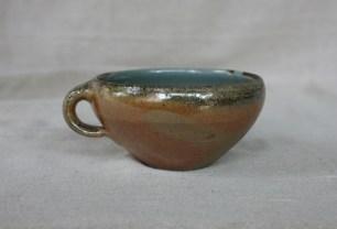 Svend Bayer 47. Soup Cup, wood ash glaze outside, celadon inside, 8 x 15 cm £80