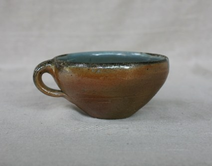 Svend Bayer 48. Soup Cup, wood ash glaze outside, celadon inside, 8 x 15 cm £80
