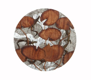 David West 23C. Lily pads and newts carved and gilded walnut 47cm diameter £2000