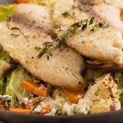 Vis met wintergroenten en boerenkool